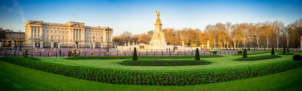 Morning Buckingham Palace panorama in London, United Kingdom