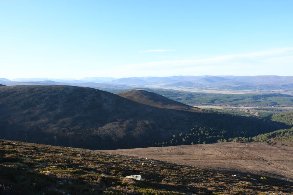 View Glen Feshie Hills . Cairngorms National Park. Highlands Scotland