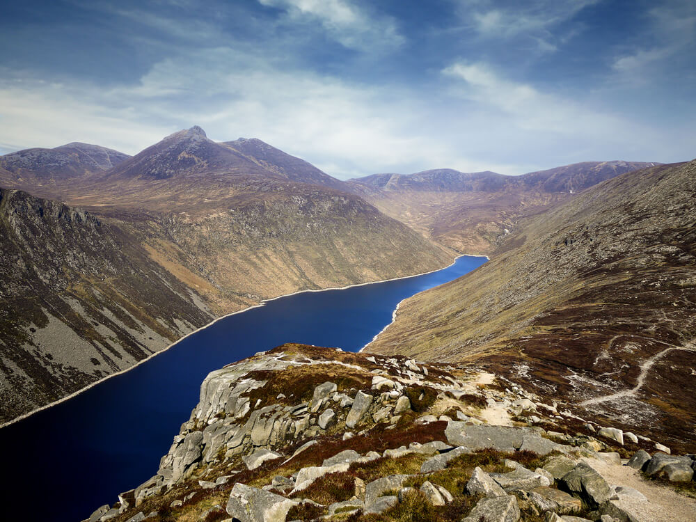 Mountains of Mourne, County Down, Northern Ireland: Ben Crom reservoir from Slieve Binnian