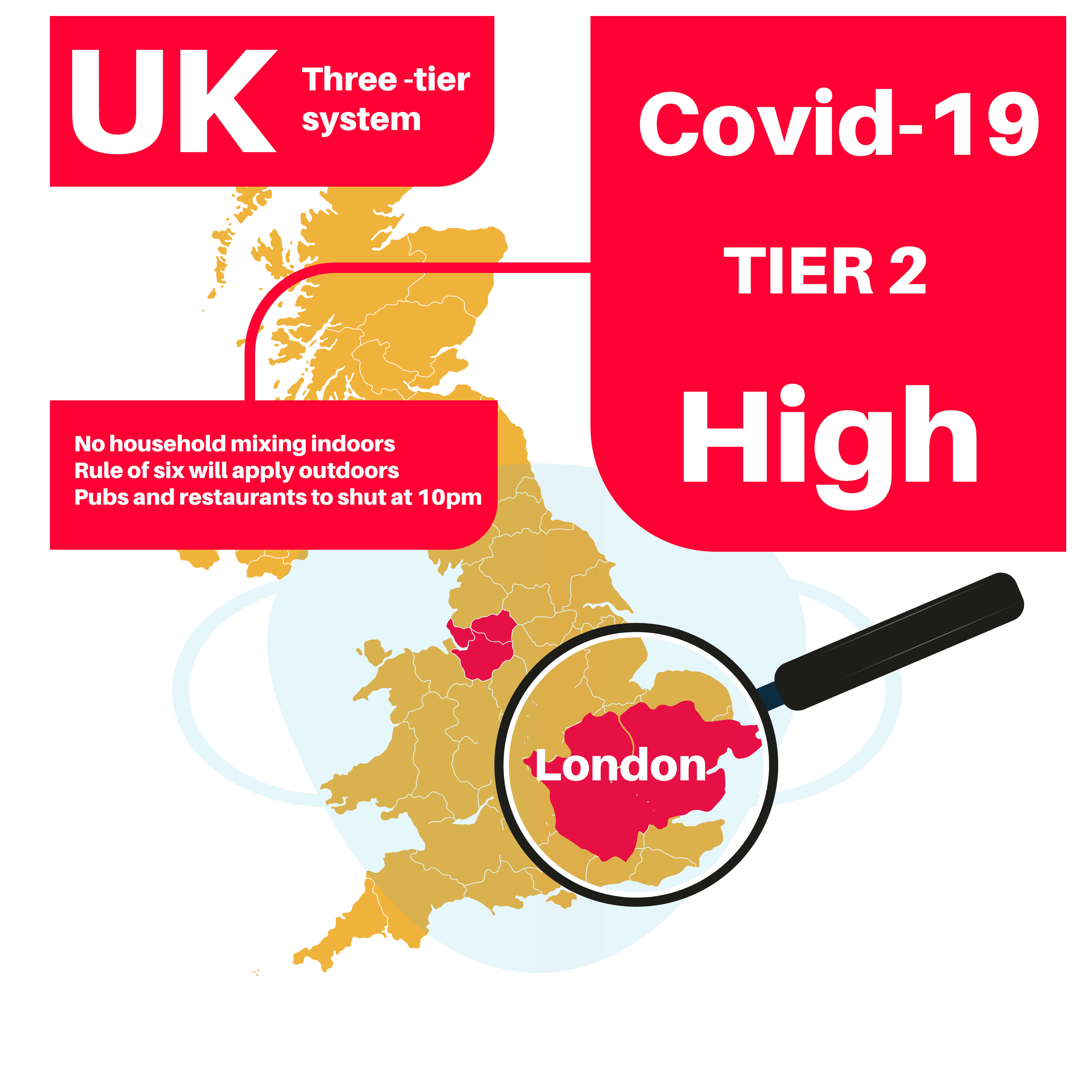 London Tier 2 Covid-19 UK infection Level High with map